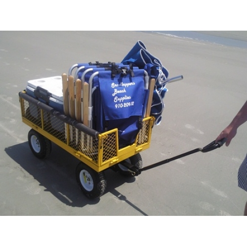 Loaded Beach Cart, 4 Backpack Chairs, Umbrella, Cooler, Cart & Umb. Anchor-0